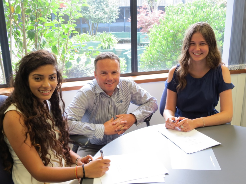 Vinati (left) and Kate with Methanex Technical manager, Nick Stonier